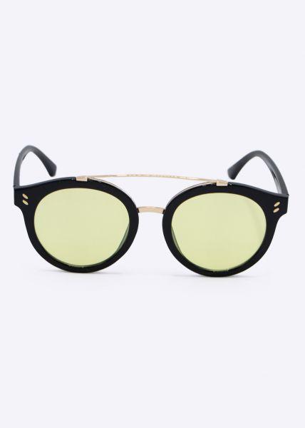 Sonnenbrille mit gelb getönten Gläser, schwarz
