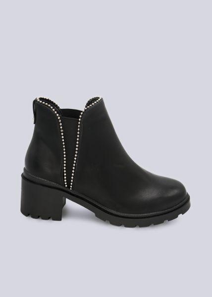 Chelsea-Boots mit Kugelperlen, schwarz
