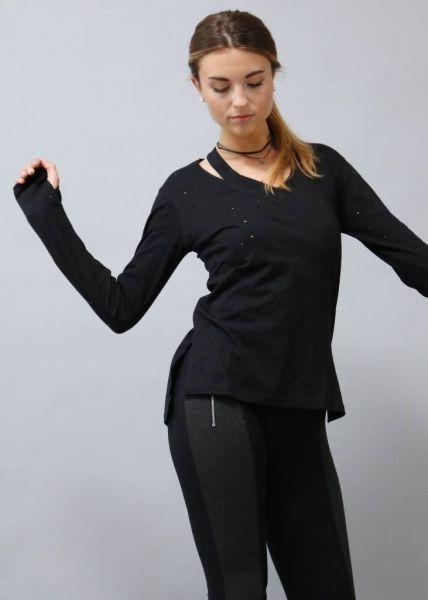 Baumwoll-Shirt mit Cutouts, schwarz