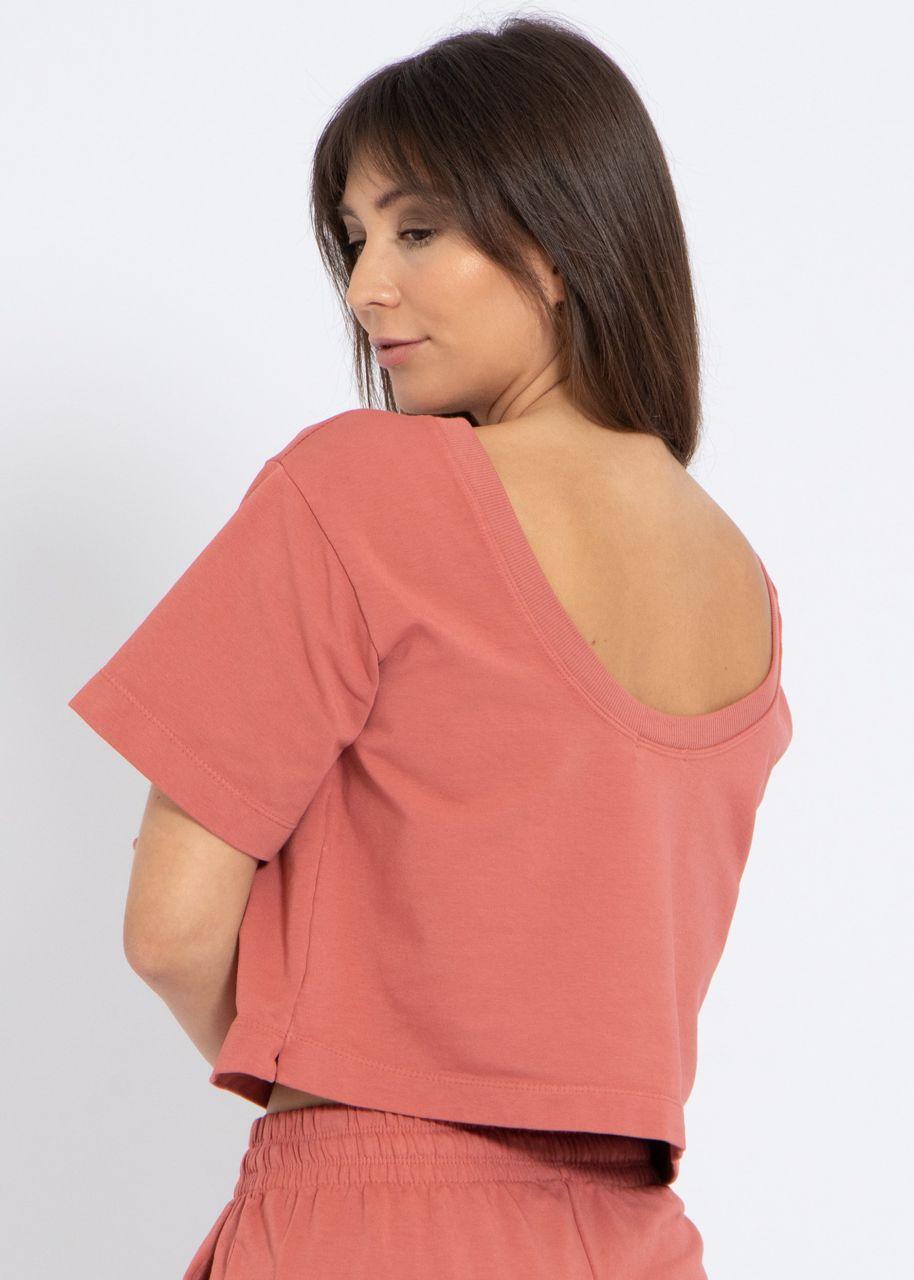 Kastiges T-Shirt mit Rückenausschnitt, terracotta