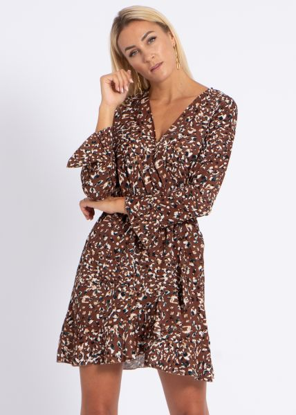 Kleid mit Wickel-Optik und Animal-Print, braun