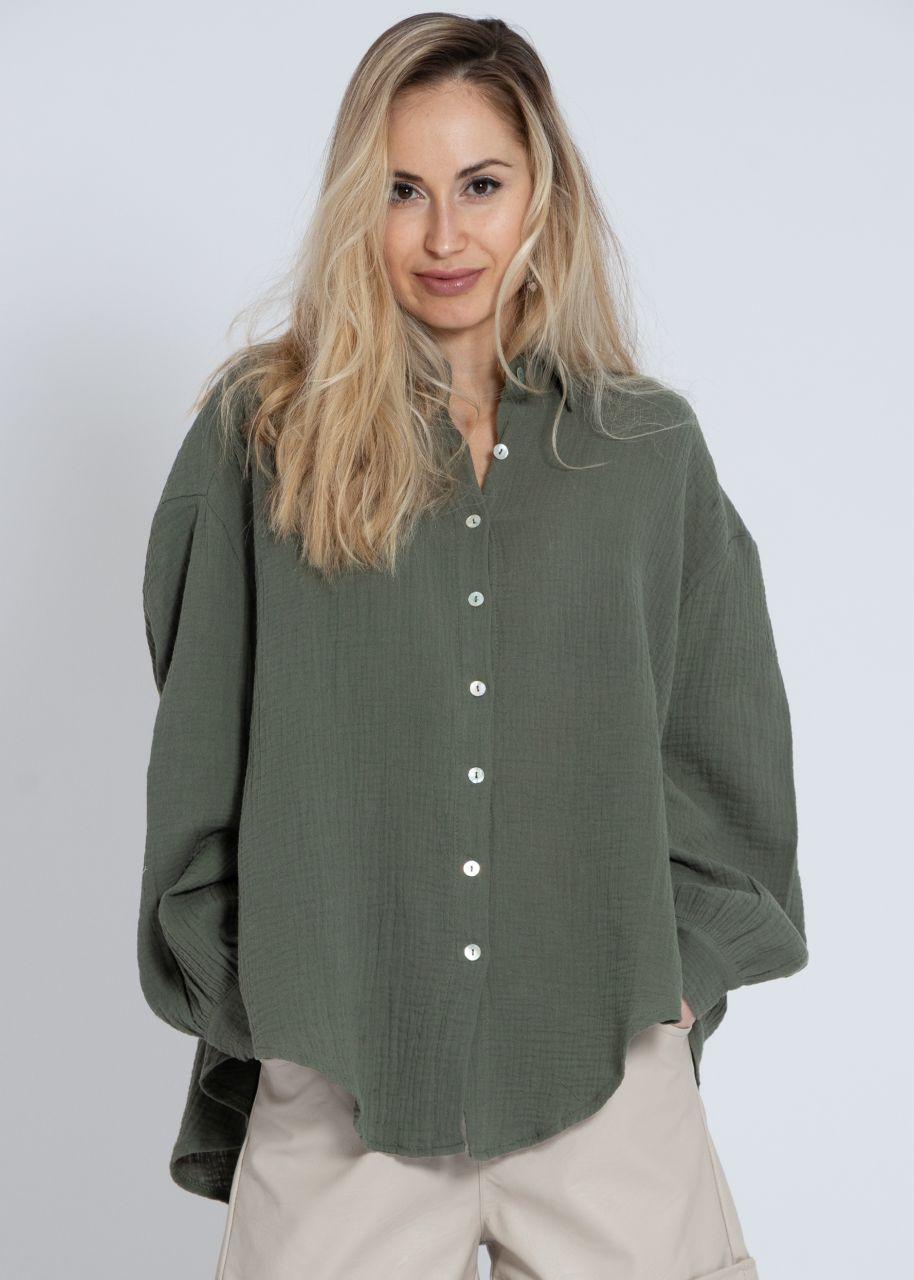 Ultra oversize Blusenhemd, kürzere Variante, khaki