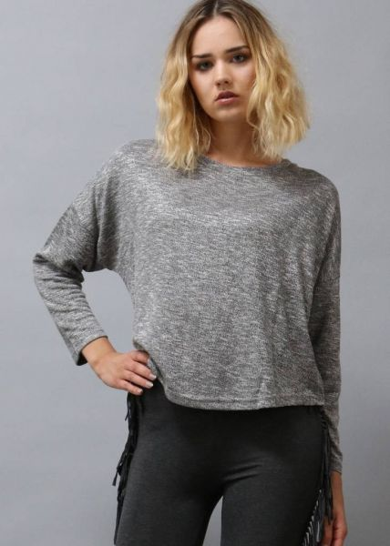 Meliertes Sweatshirt, grau