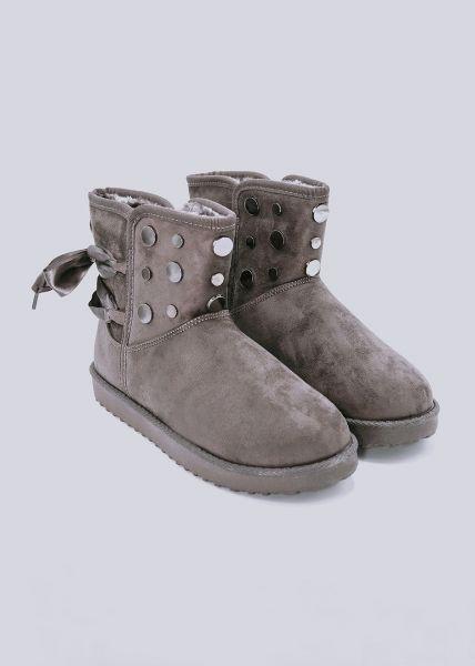 Fell-Boots mit Nieten, grau