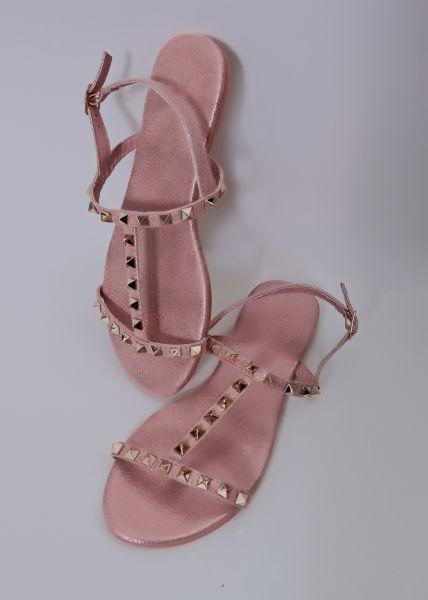 Flache Sandalen mit Nieten, rosa