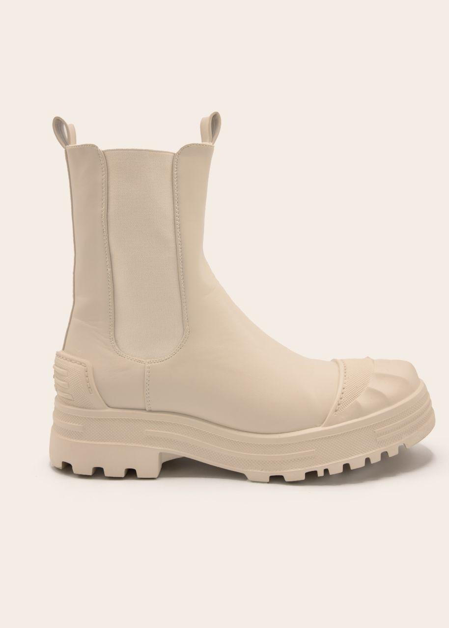 Combat-Boots mit betonter Kappe, beige