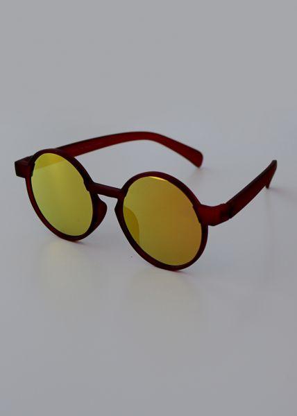 Runde Sonnenbrille, weinrot