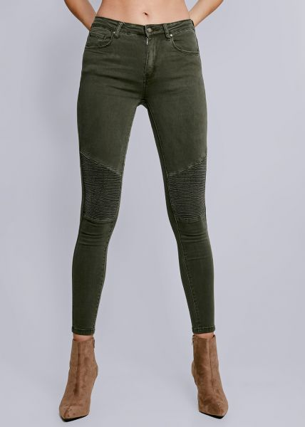 Skinny Jeans mit Absteppung, khaki