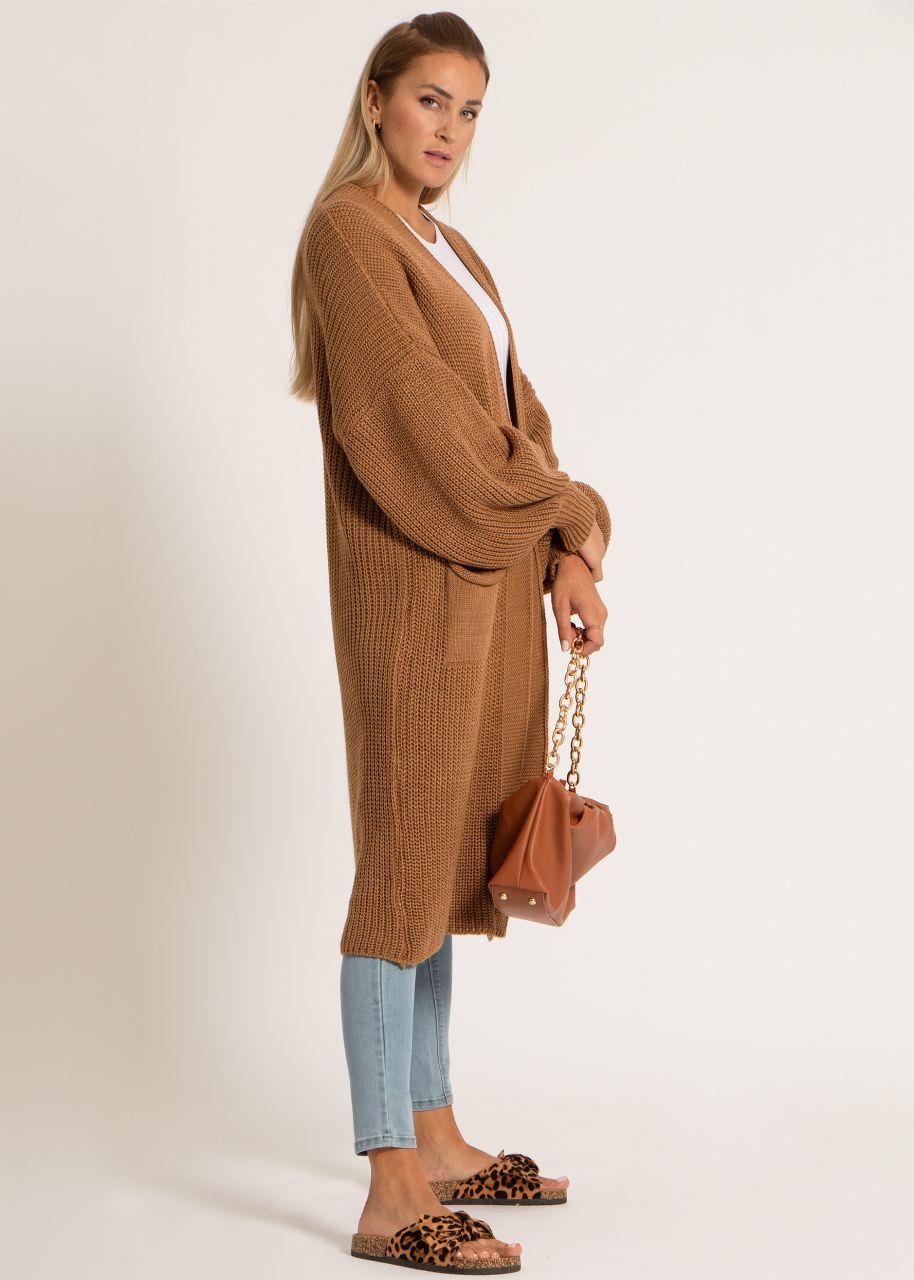 Maxi Cardigan mit Taschen, camel