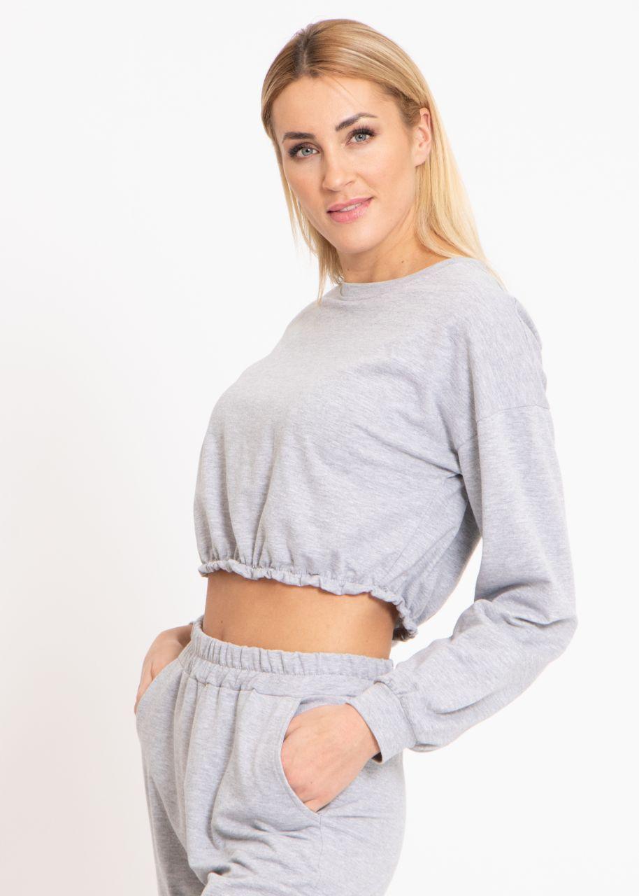 Crop Lounge-Shirt, grau