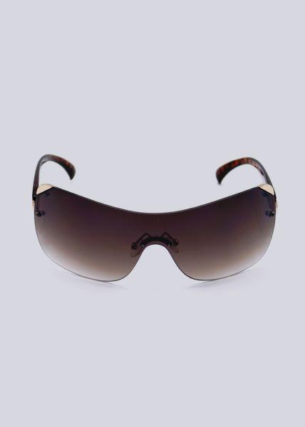 Rahmenlose Sonnenbrille mit gold Detail, braun