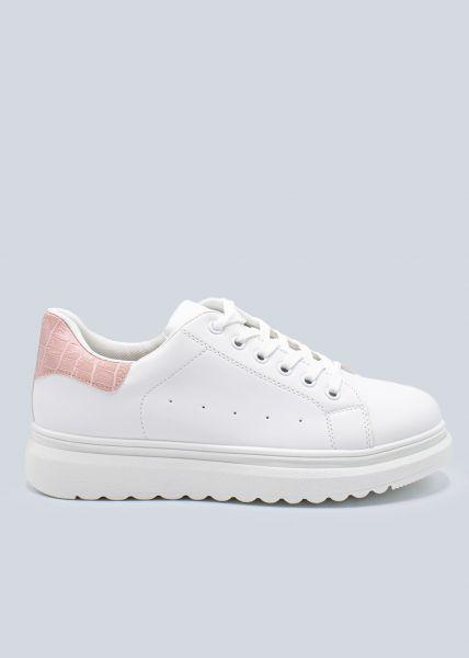 Plateau-Sneaker mit rosa Kroko-Ferse, weiß