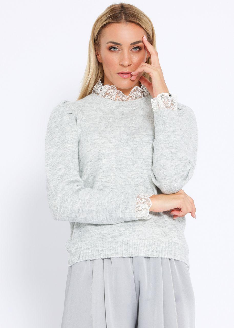 Pullover mit Spitzenkragen, grau