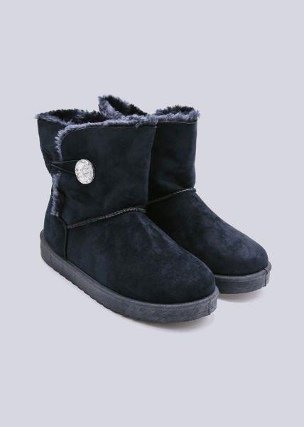 Fell-Boots mit Glitzerknopf, blau