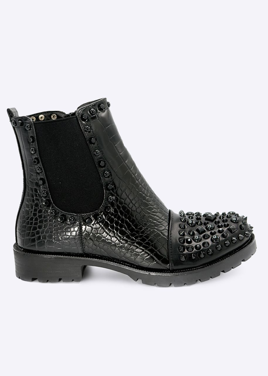 Kroko-Boots mit schwarzen Nieten vorne, schwarz