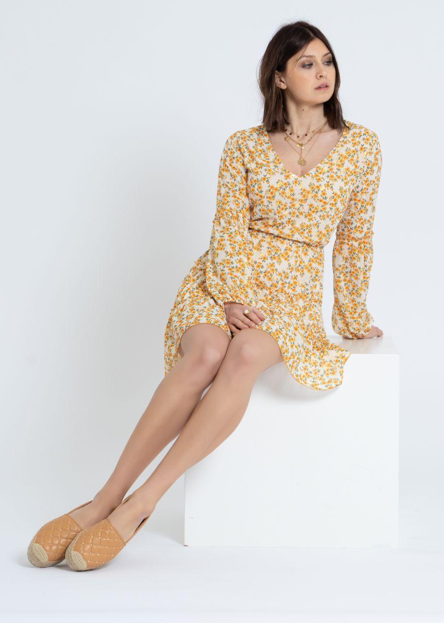 Kleid mit gelbem Print und gold Tupfen, offwhite