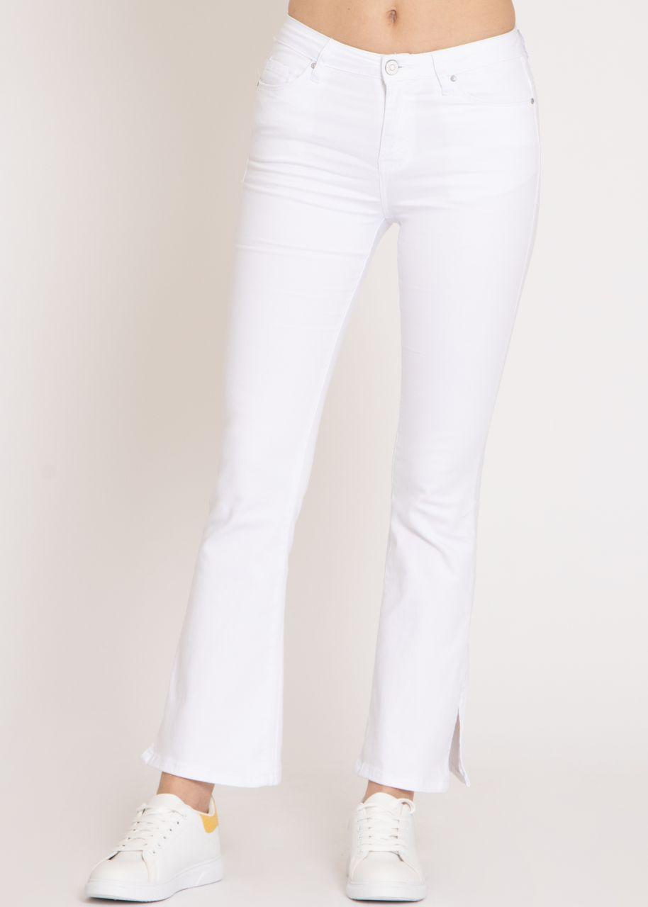 Flared Jeans mit Schlitz, weiß