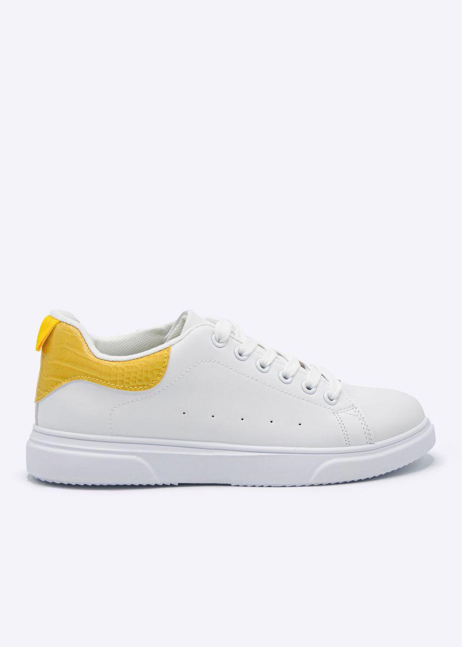 Sneaker mit gelber Kroko-Ferse, weiß