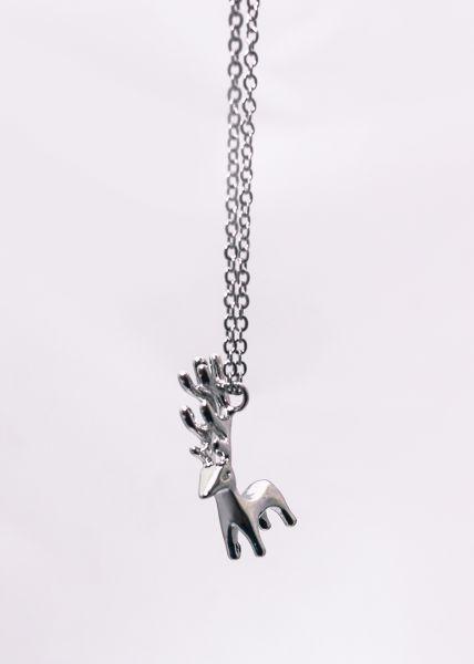 Halskette mit Elch, silber