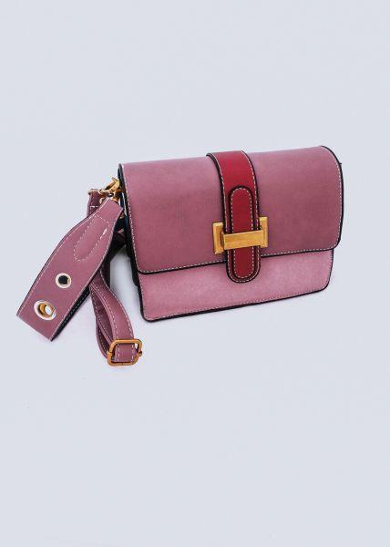 Umhängetasche mit roter Lasche, rosa