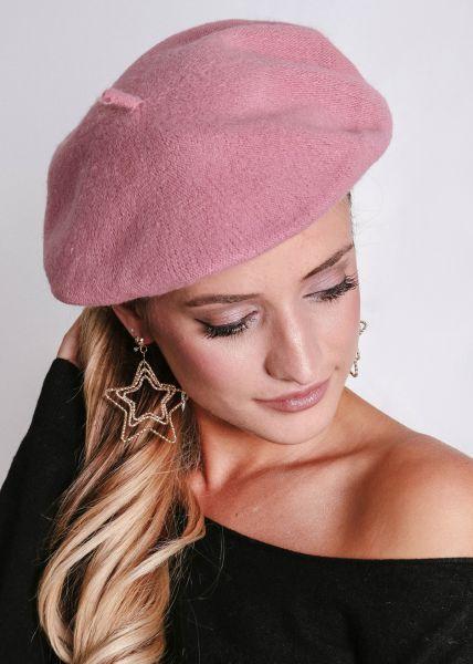 Barett aus Strick, rosa