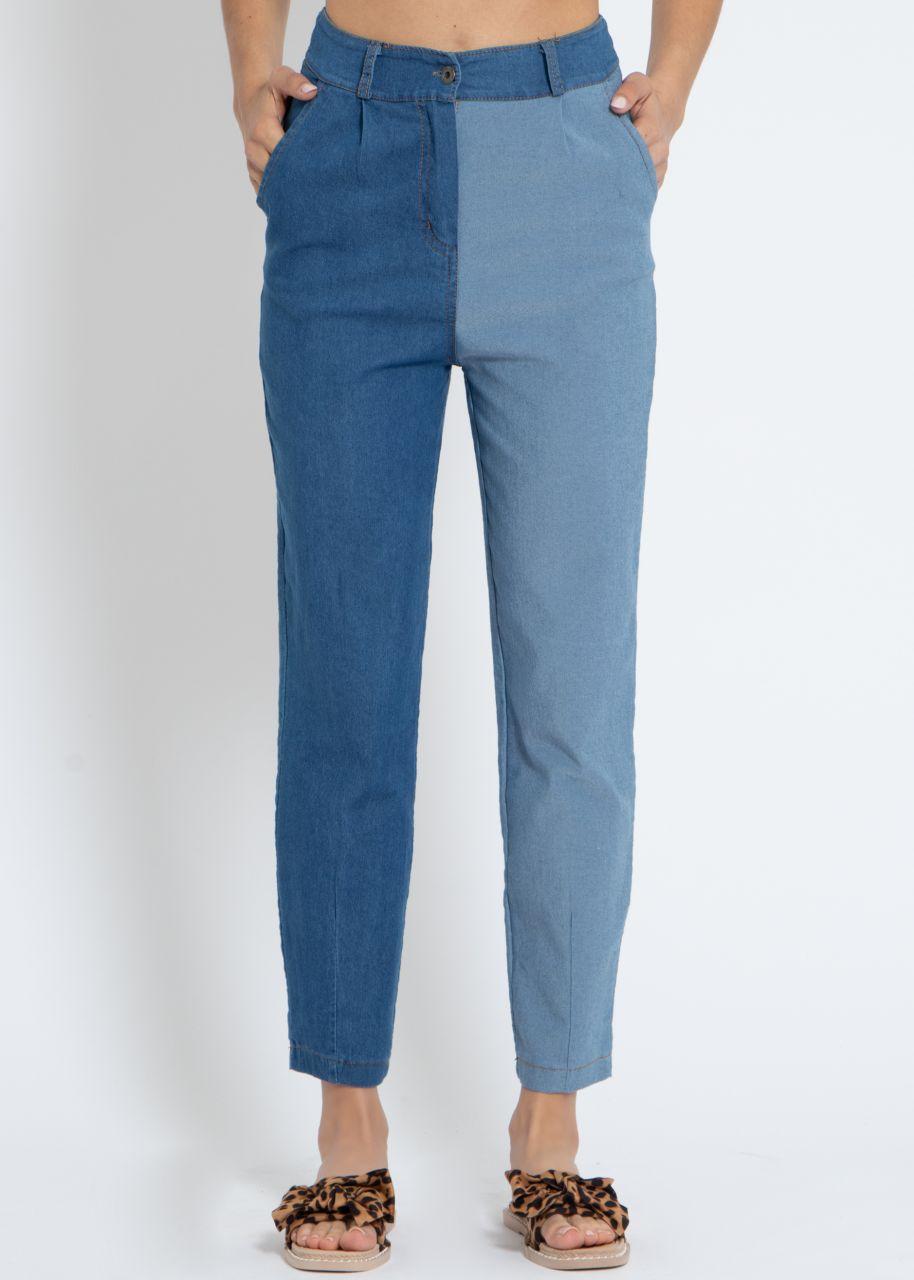2-farbige Jeans, blau