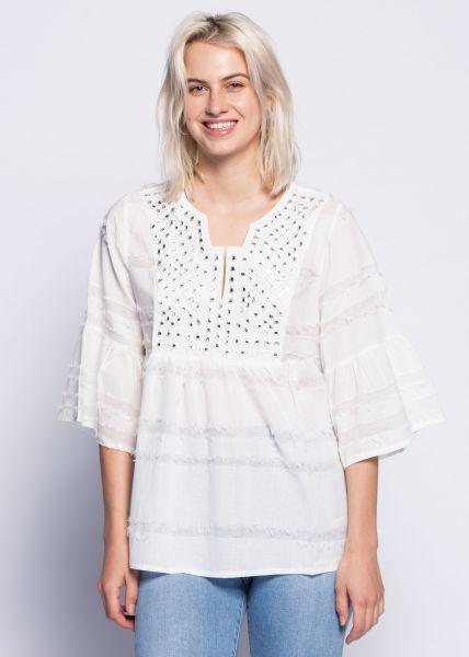 Tunika-Bluse mit bestickter Passe, weiß