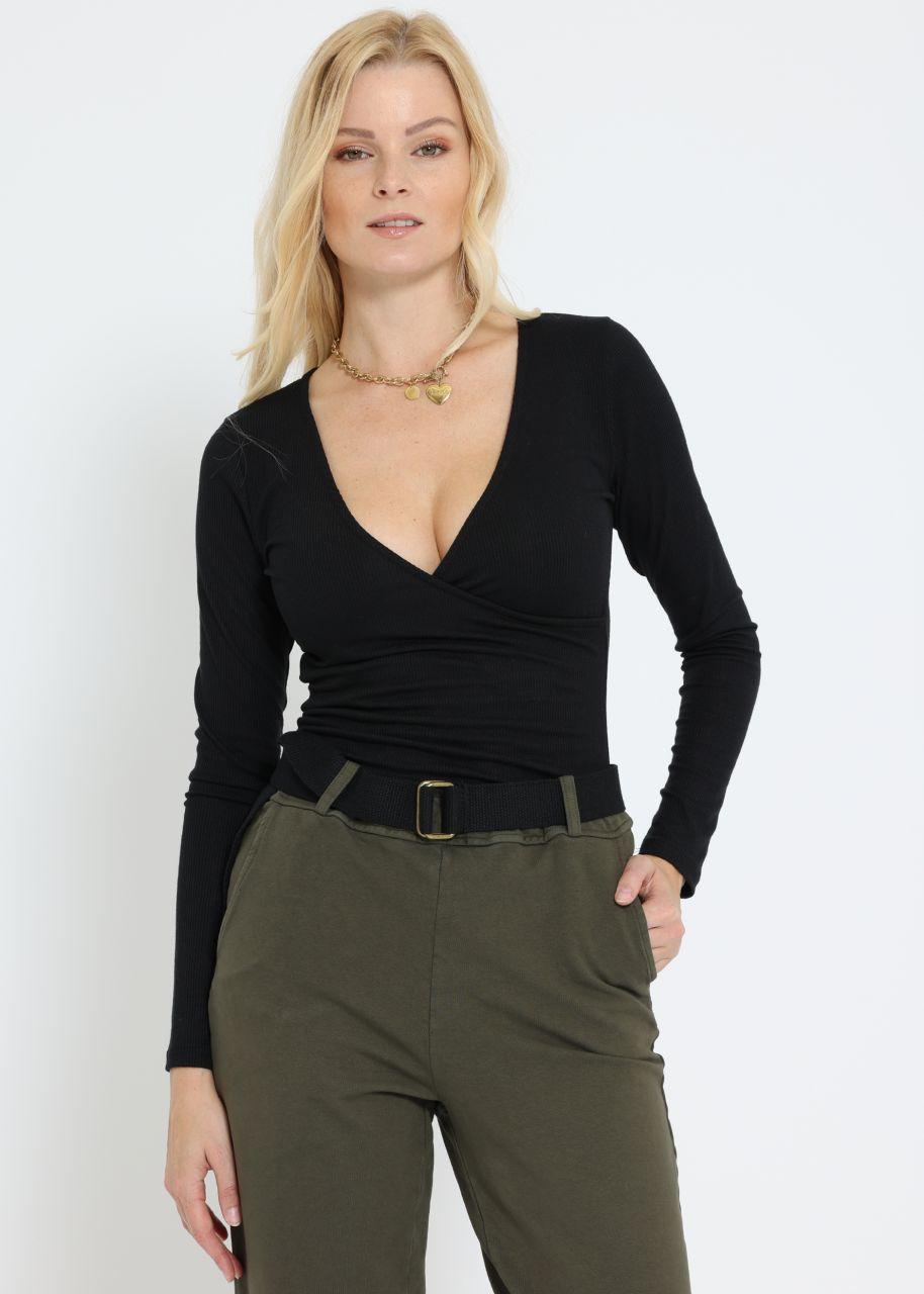 Jersey-Shirt mit Wickel-Optik, schwarz