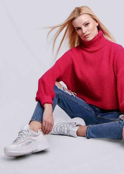 Rollkragen-Pullover, pink