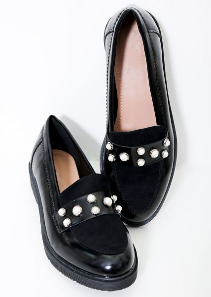 Loafer mit Perlen-Nieten, schwarz