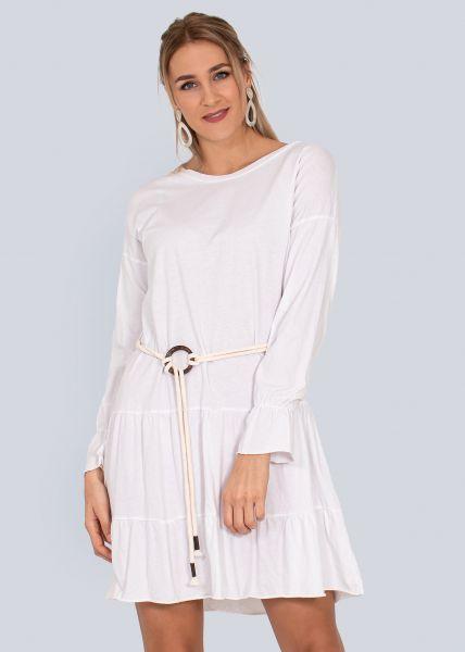 Jersey-Kleid mit Gürtel, weiß
