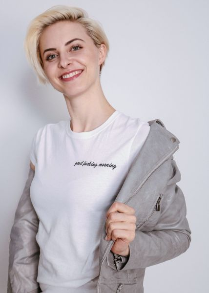 "T-Shirt ""good morning"", weiß"