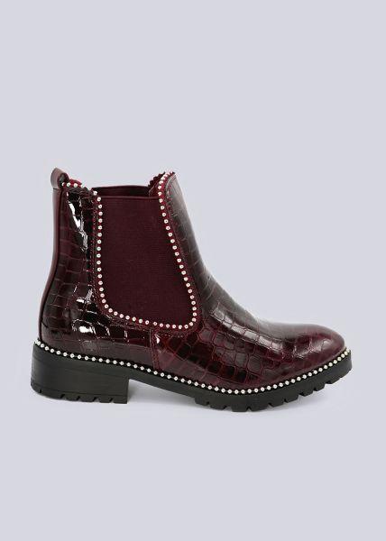 Chelsea-Boots in Kroko-Optik, weinrot
