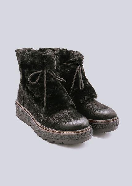 Plateau-Boots, außen mit Fell, schwarz
