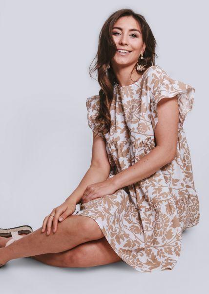 Hängerchenkleid mit Print, beige