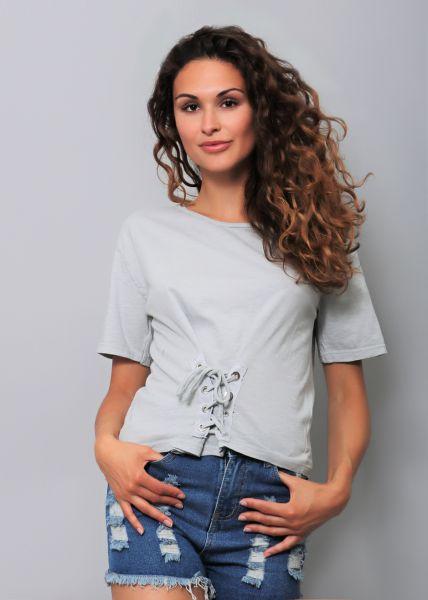 Cropped T-Shirt mit laceup, grau
