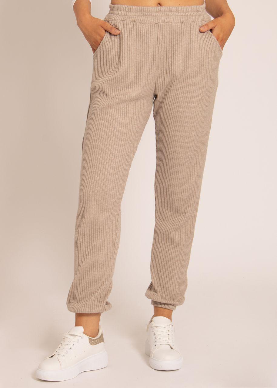 Lounge-Pants in super softem Rippenjersey, beige