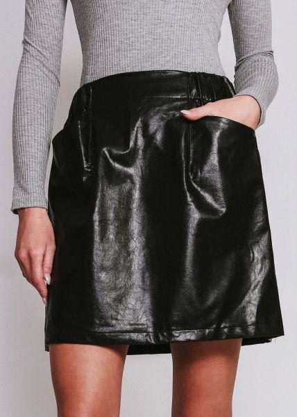 Leder-Rock mit Taschen, schwarz