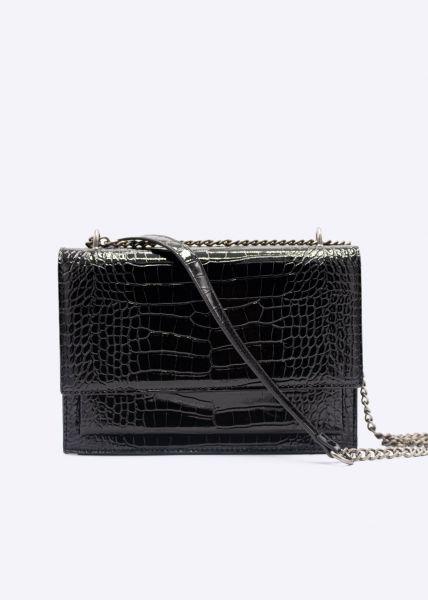 Glänzende Kroko-Tasche mit Kettenhenkel, schwarz