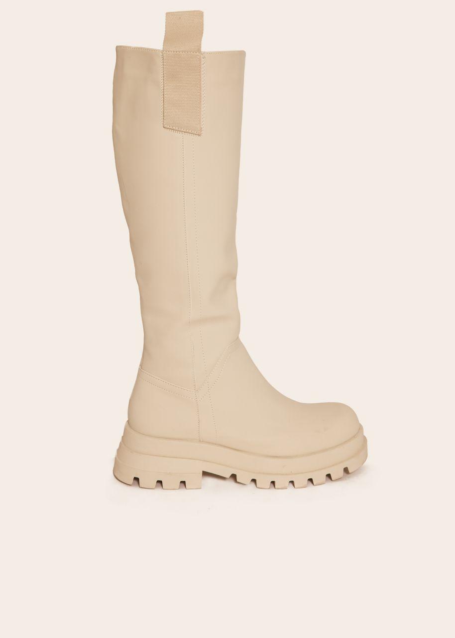 Kniehohe Stiefel mit seitlichen Laschen, beige