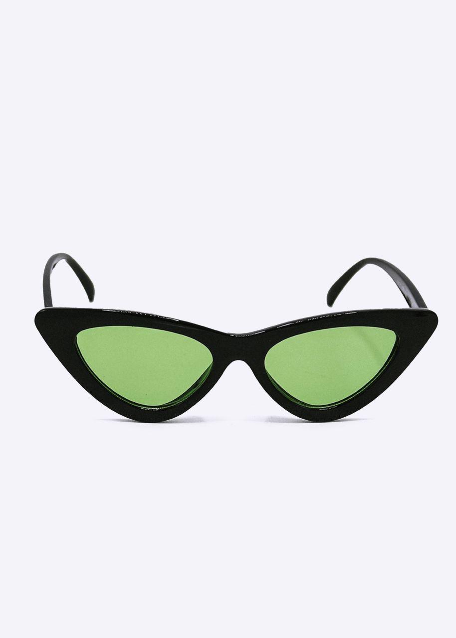 Schmale Cat-Eye Sonnenbrille, schwarz