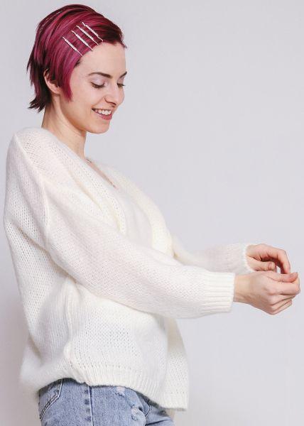 Pullover mit V-Ausschnitt, weiß