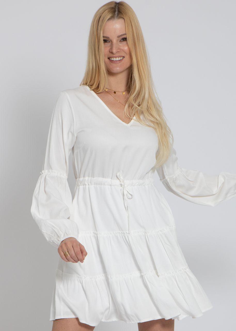 Kleid mit Rüschen, weiß