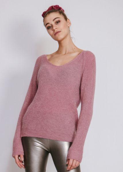 Pullover mit V-Auschnitt, dunkelrosa