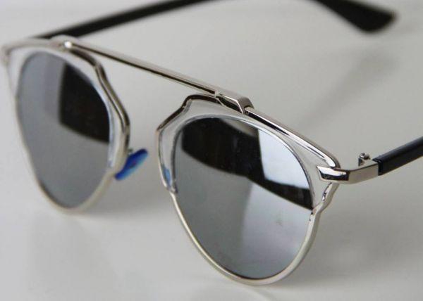 Retro Spiegelbrille mit Brauensteg