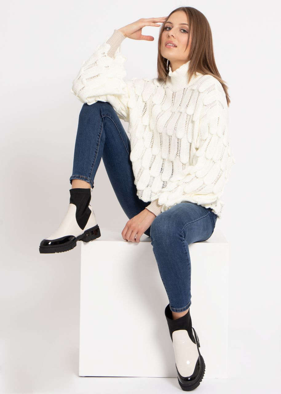 Oversize Pullover mit Muster, offwhite