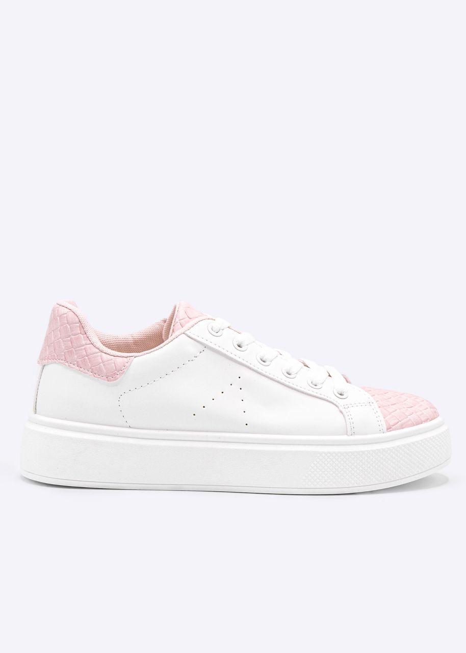 Sneaker mit rosa Web-Details, weiß