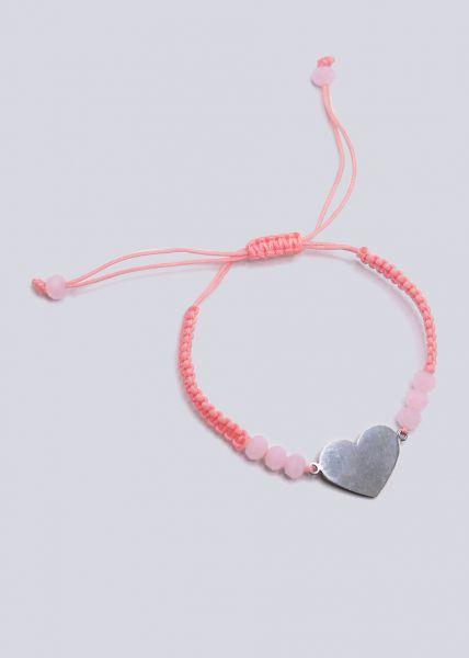 Armband mit silbernem Herz, pastellorange