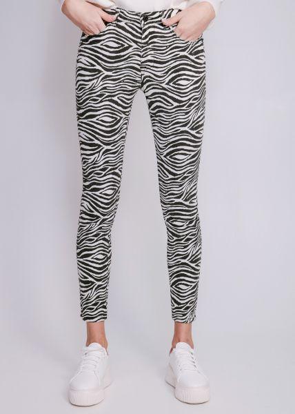 Skinny Jeans in Zebra-Print, schwarz
