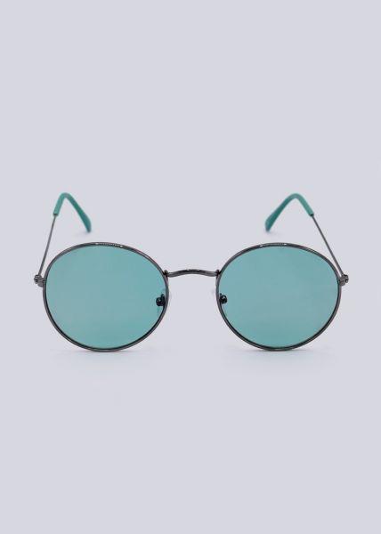 Runde Sonnenbrille, türkis